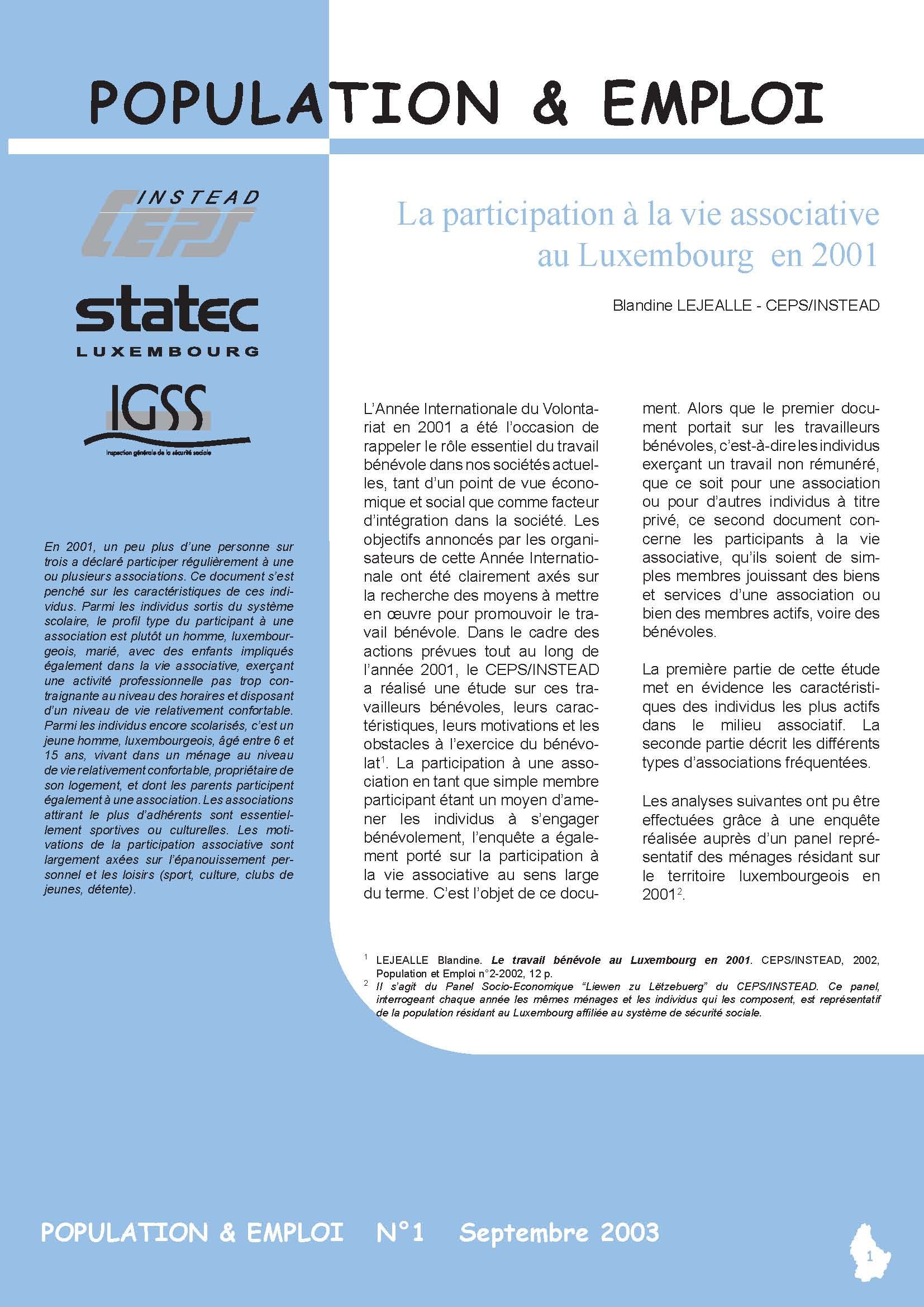 Etude Participation à la vie associative